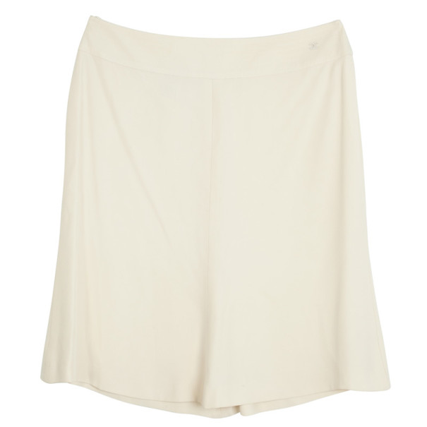 Chanel Cream Midi Silk Skirt L