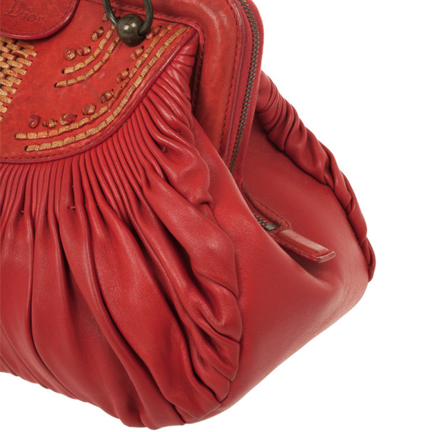 Christian Dior Plisse Large Pleated Red Lambskin Leather Handbag