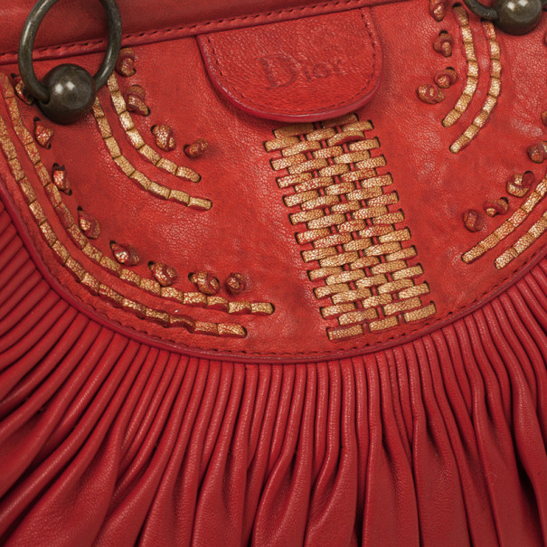 Christian Dior Plisse Large Pleated Red Lambskin Leather Handbag