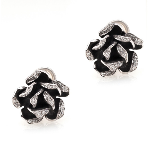Annamaria Camilli Black Rose Diamond White Gold Earrings