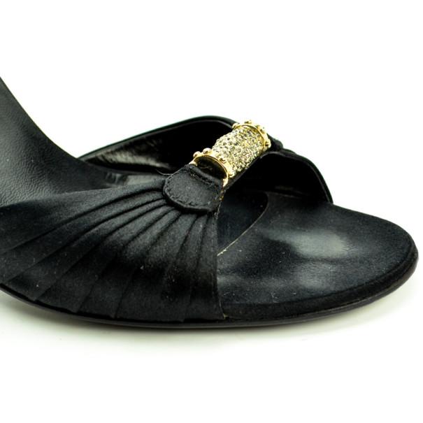 Gucci Black Satin Embellished Ankle Strap Sandals Size 40
