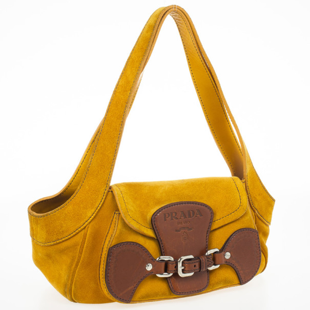 Prada Suede Leather Shoulder Bag