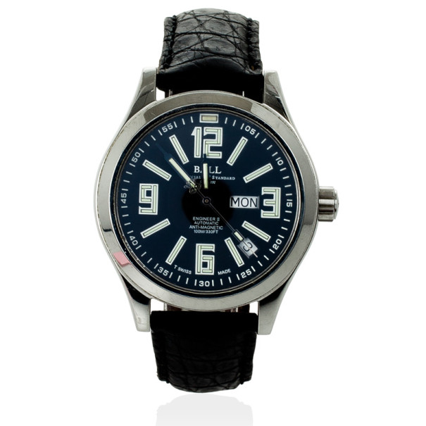 Ball Engineer II SS Leather Black Unisex Wristwatch 38 MM