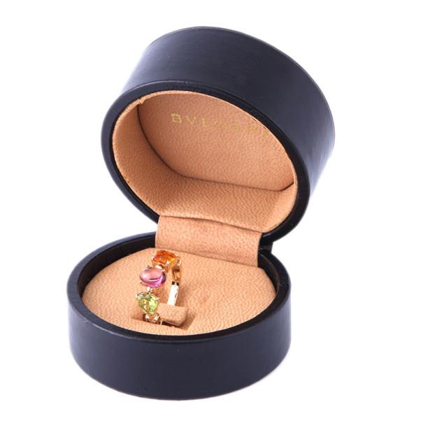Bvlgari Allegra Diamond Multicolored Gemstones 18K Yellow Gold Ring Size 50