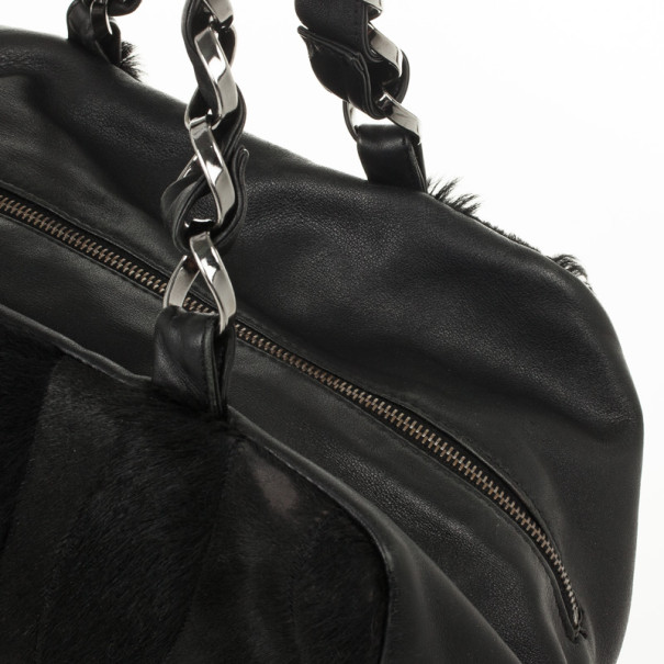 Chanel Black Pony Hair Fur and Lambskin Bowler Bag
