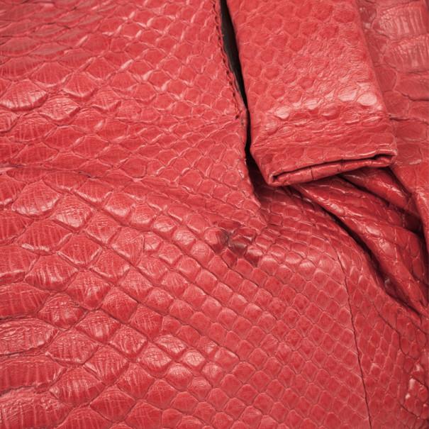 Zagliani Coral Pink Python Pleated Bag