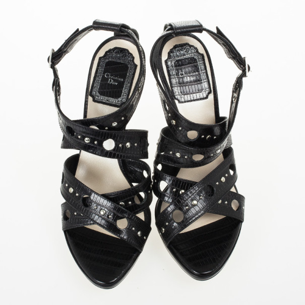 Christian Dior Black Leather Dior Bubble Platform Sandals Size 36.5