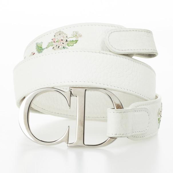 Dior White Leather 'CD' Logo Belt 85 CM