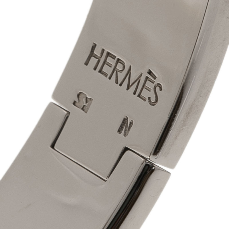 Hermes Clic Clac H Narrow Green Enamel Palladium-Plated White Enameled H  Bracelet