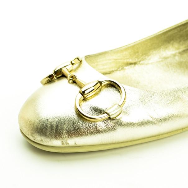 Gucci Metallic Horsebit Ballet Flats Size 39