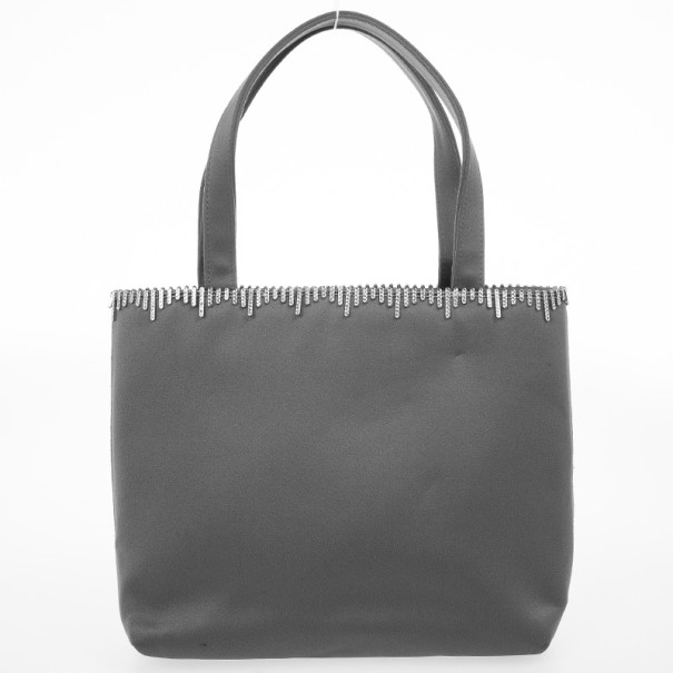 Sergio Rossi Grey Satin Evening Bag