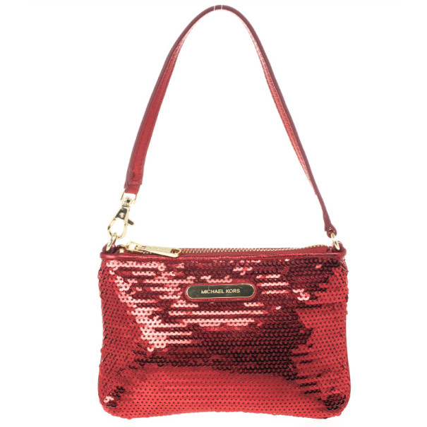 Michael by Michael Kors Red Sequin Wristlet
