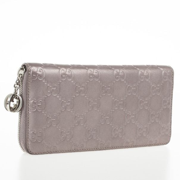 Gucci Metallic Guccissima Leather Long Zippy Wallet