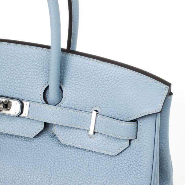 Hermes Blue Lin Clemence Leather Birkin 35 CM