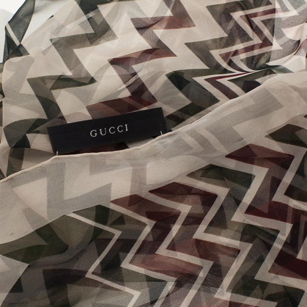 Gucci Multicolor Zig Zag Silk Scarf