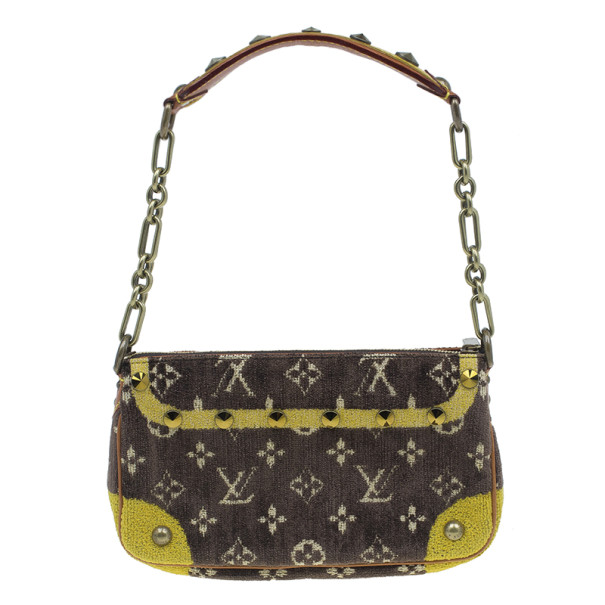 Louis Vuitton Brown Monogram Limited Edition Velvet Trompe L'oeil Pochette