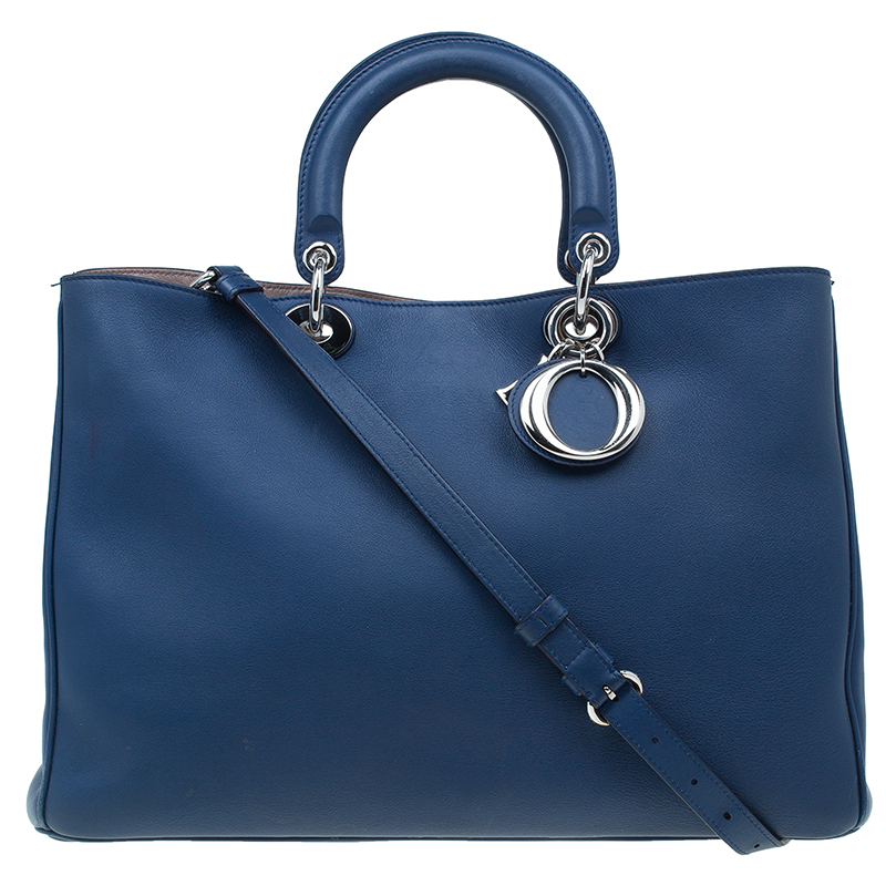 Dior Navy Blue Leather Large Diorissimo Shopper Tote