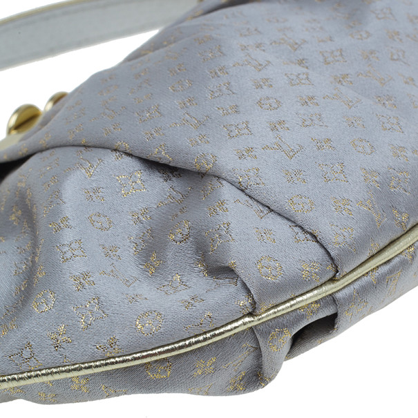 Louis Vuitton Grey Monogram Satin Aumoniere Evening Clutch