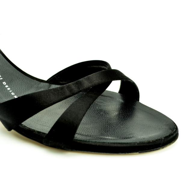 Giuseppe Zanotti Black Satin Rhinestone Sandals Size 41