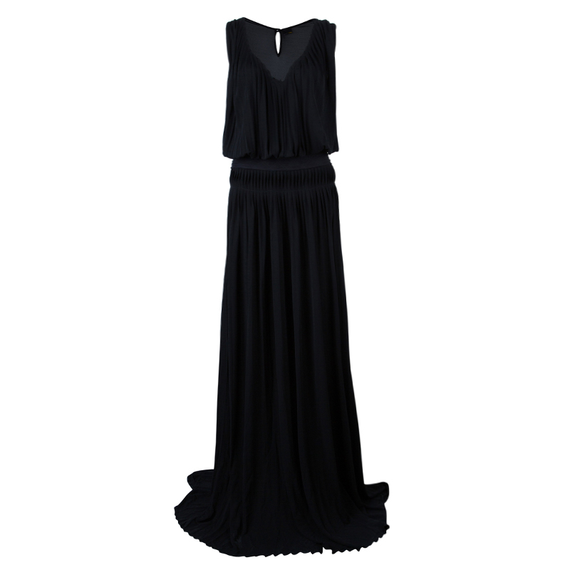 Fendi Black Pleated Maxi Dress M