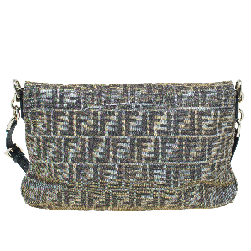 Fendi Metallic Gold/Silver Canvas Glitter Jacquard Mia Zucca Flap Bag