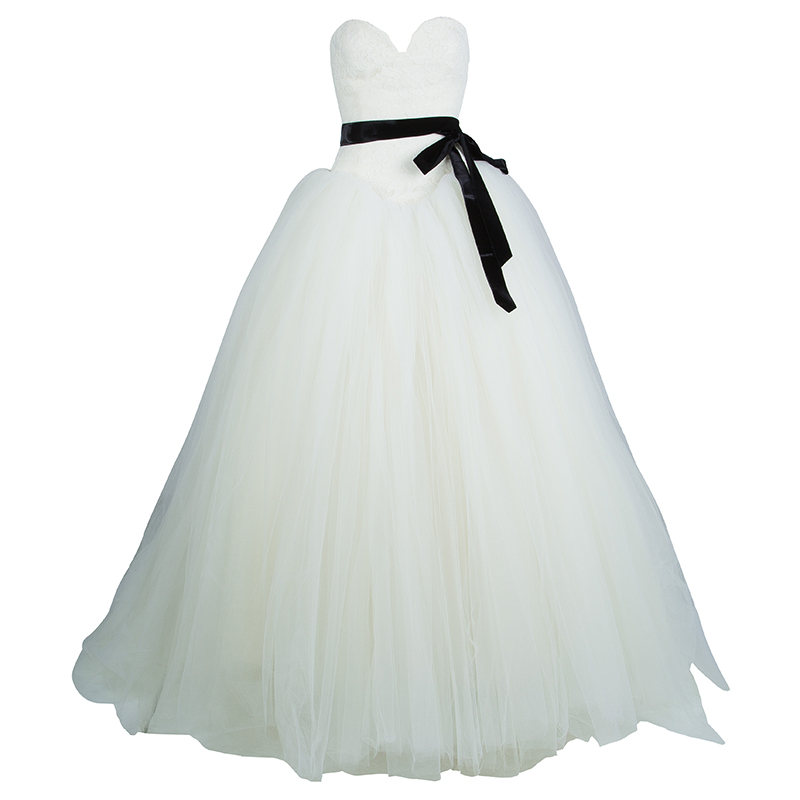 Vera Wang Strapless Lace Tulle Wedding Dress S