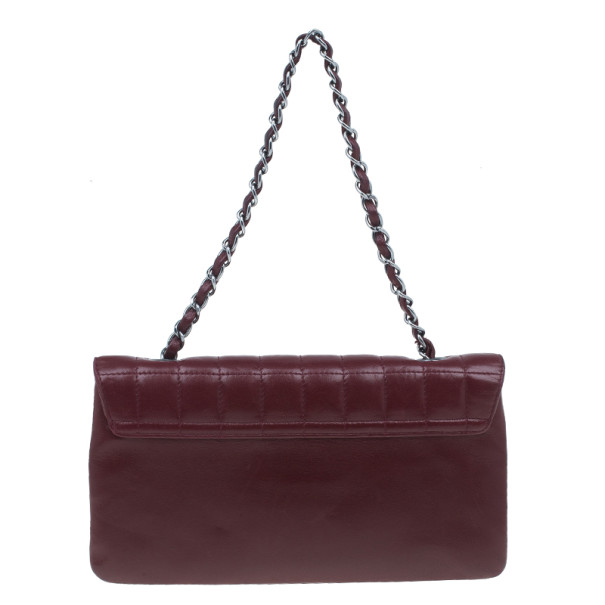 Chanel Red Leather Chocolate Bar Mademoiselle Flap Bag