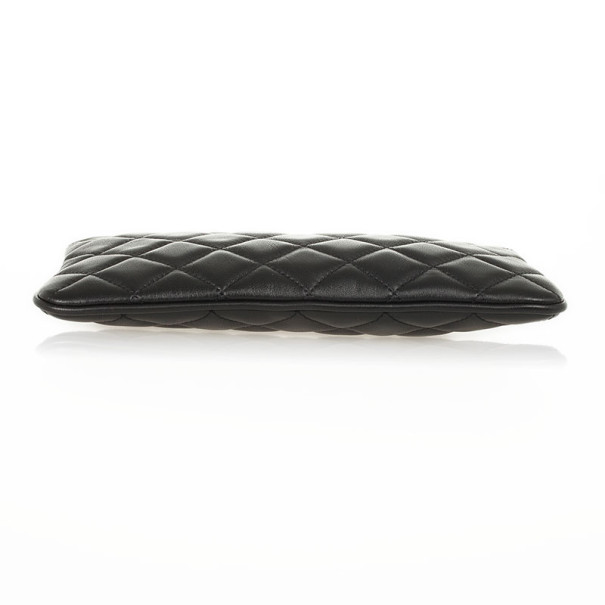 Carolina Herrera Black Quilted Leather Wristlet