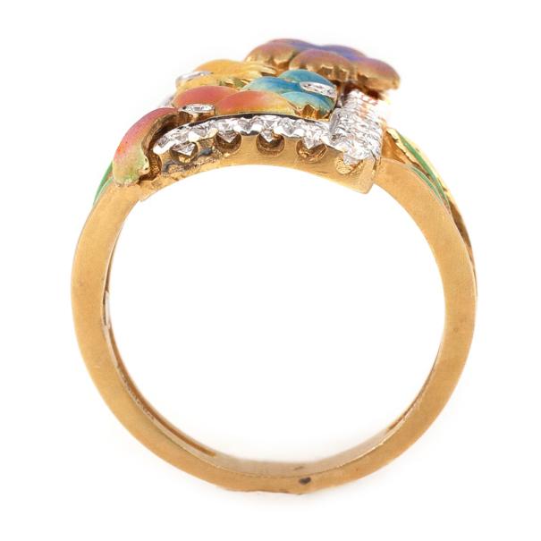 Masriera Flower Enamel Diamond Ring Size 54.5