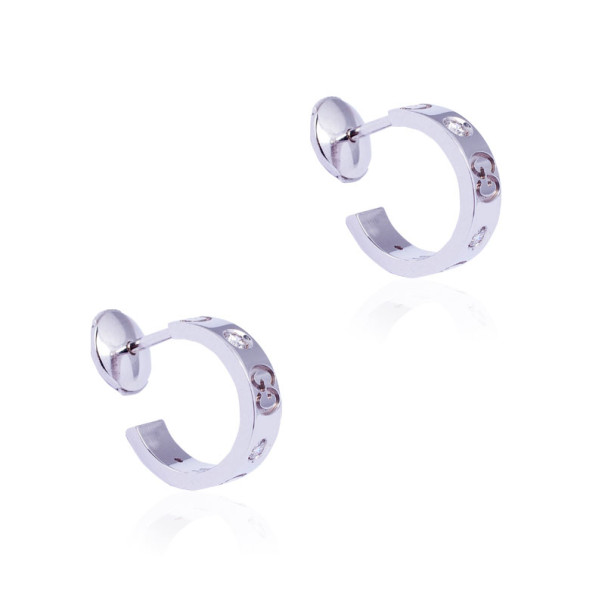 Gucci 18 K White Gold Diamonds Icon Small Hoops Earrings