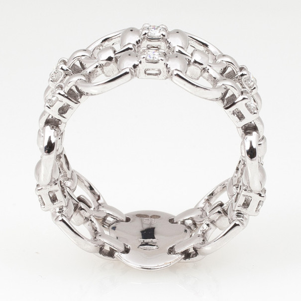 Gucci Horsebit White Gold Diamond Double Band Ring Size 55