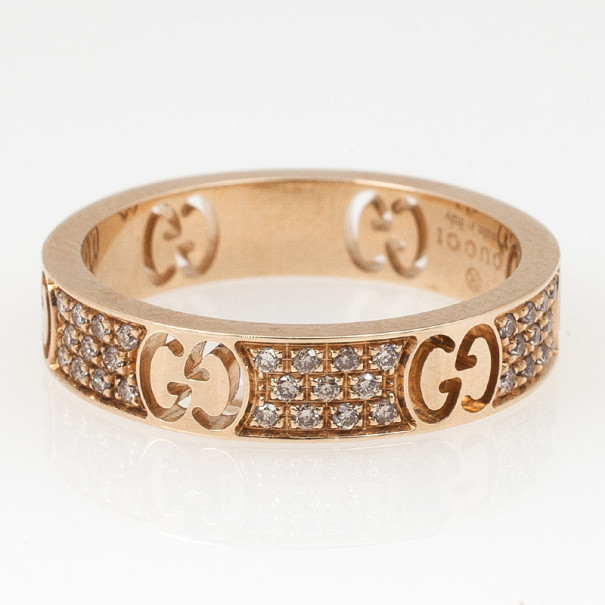 Gucci Stardust Diamond Yellow Gold Thin Band Ring Size 52