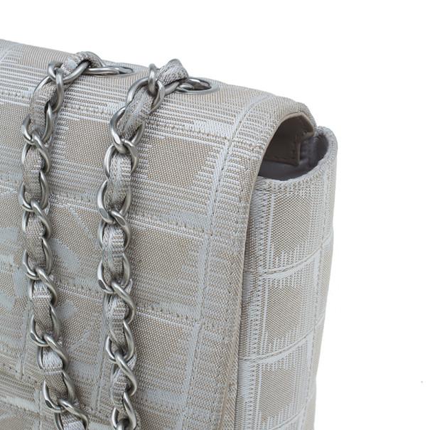 Chanel Beige Canvas CC Logo Travel Line Flap Shoulder Bag
