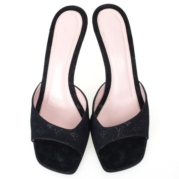 Louis Vuitton Black Fabric Monogram Mules Size 38.5