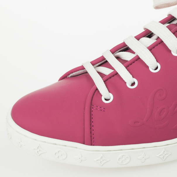 Louis Vuitton Pink Lace Up Sneakers Size 37.5