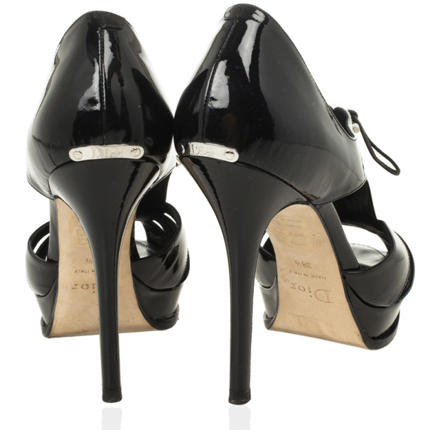 Dior Black Patent Glam Derby Peep Toe Pumps Size 38.5