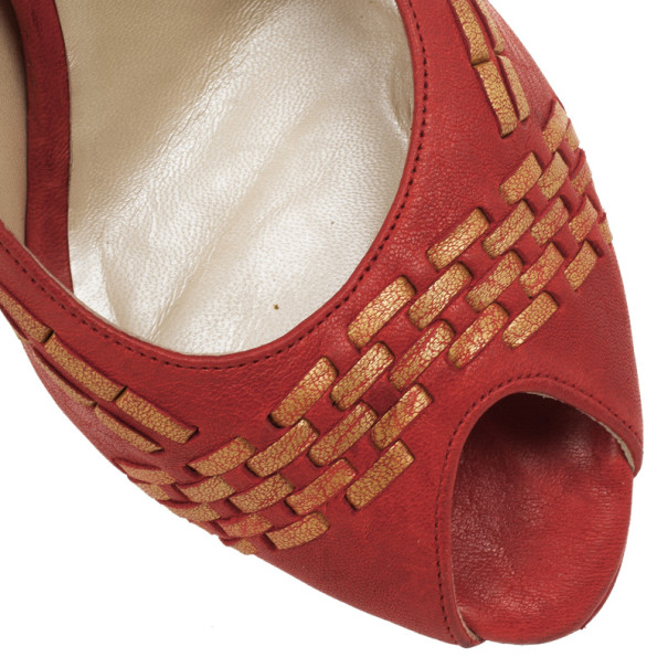 Dior Red 'Miss Dior' Woven Peep Toe Pumps Size 38