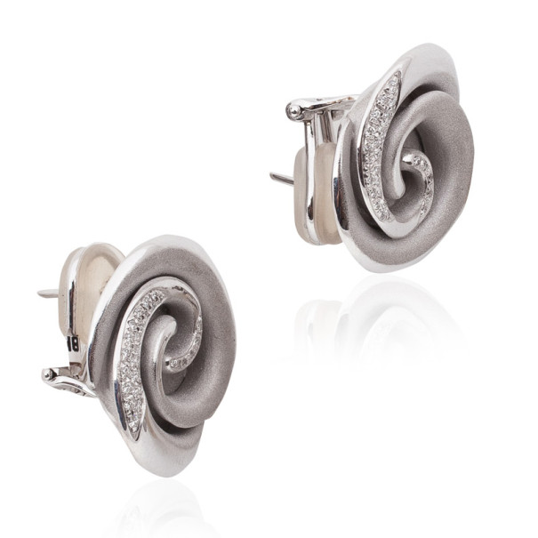Annamaria Camilli Black Rose Diamond White Gold Earrings