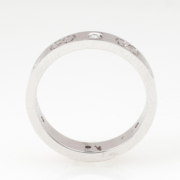 Gucci Diamond White Gold Ring Size 54