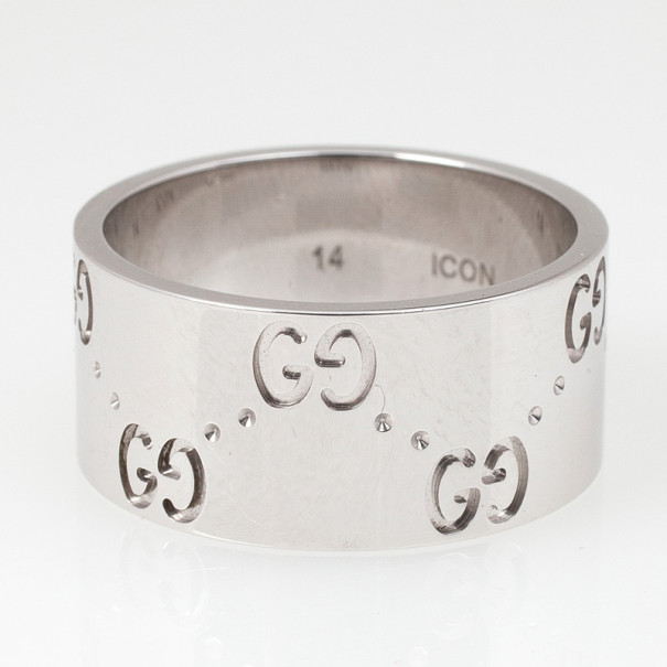 Gucci Icon White Gold Band Ring Size 54