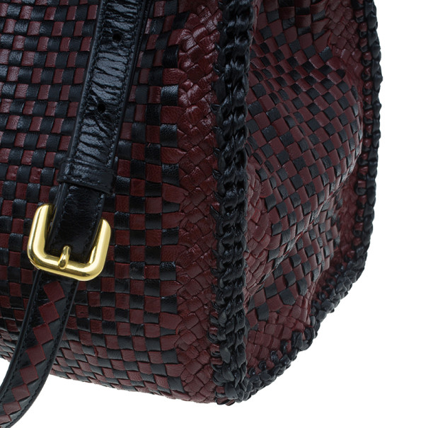 Prada Black Maroon Woven Leather Madras Tote