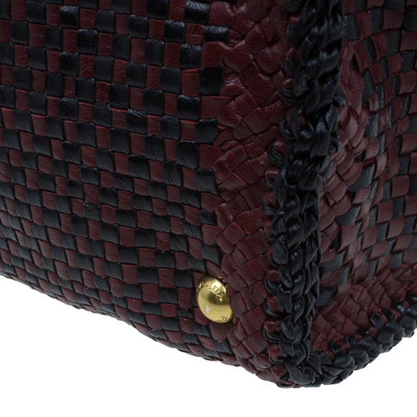 Prada Black Maroon Woven Leather Madras Tote