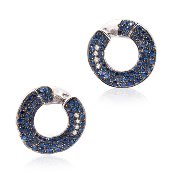 Pomellato 18 K White Gold Diamond Blue Sapphires Earrings
