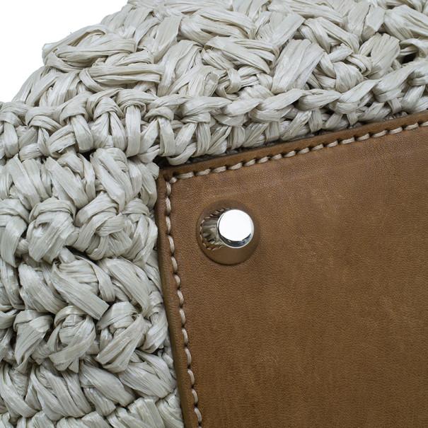 Miu Miu Beige Straw and Leather Trimmed Raffia Tote