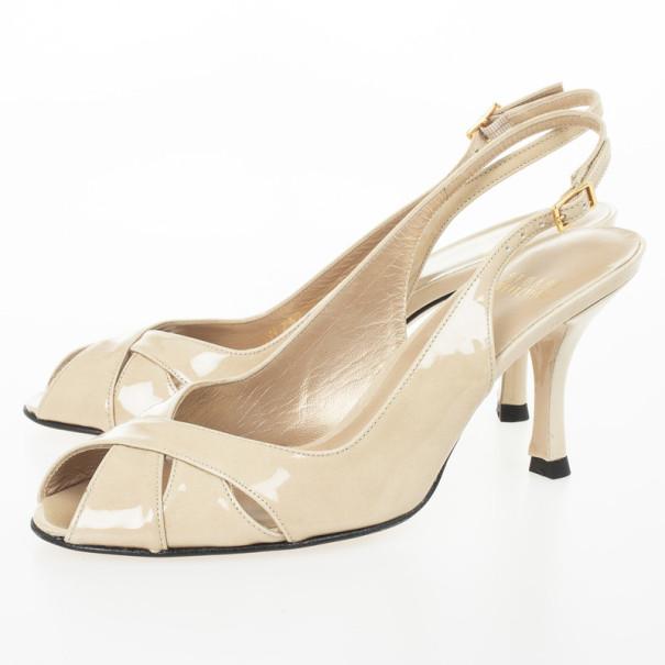 Stuart Weitzman Nude Patent Peekaboo Slingback Sandals Size 37