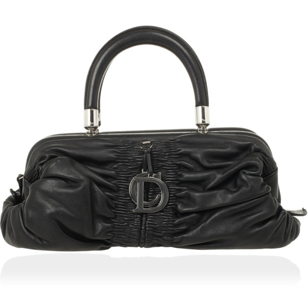 Christian Dior Black Lambskin Karenina Small Frame Tote Bag
