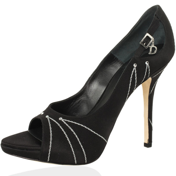 Dior Black Satin  Embroidered Open Toe Folies Pumps Size 38.5