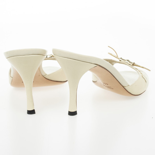 Gucci Beige Bamboo Bow Slides Size 40