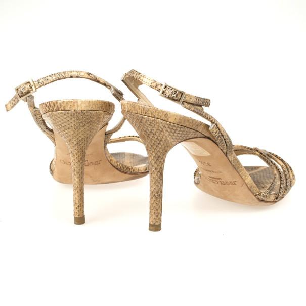 Jimmy Choo Snakeskin Slingback Sandals Size 39.5