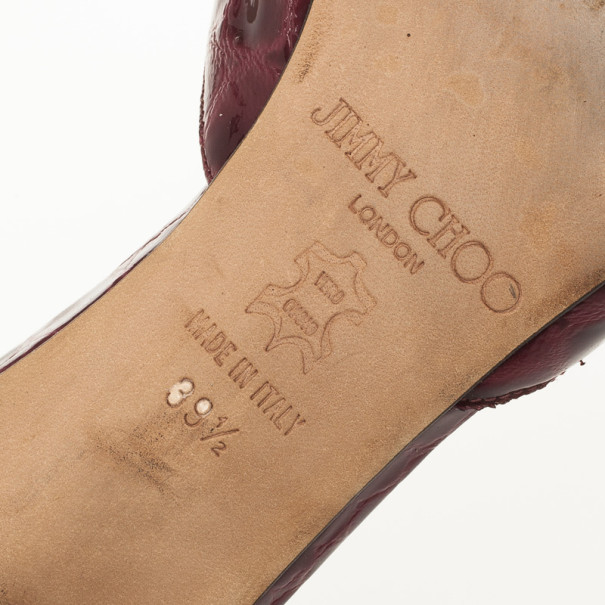 Jimmy Choo Maroon Croc Embossed Slides Size 39.5